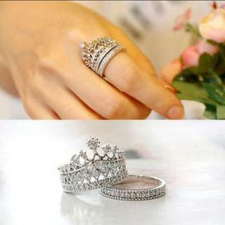Imperial Crown Crystal Rings Set