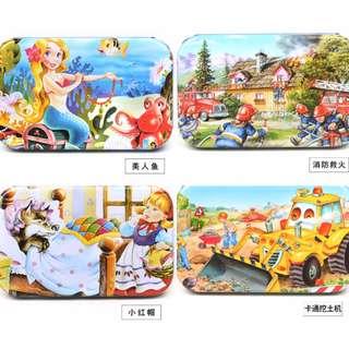 60片卡通拼圖玩具木質早教益智兒童木制玩具