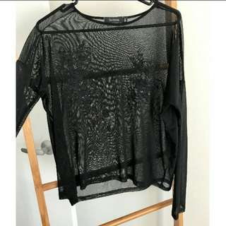 Glassons Black Mesh Embroidered Top