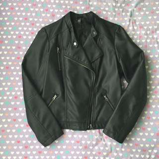 Pleather Collarless Biker Jacket (faux Leather)
