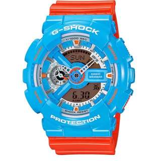 Casio G Shock * GA110NC-2A Anadigi Gloss Blue Orange Gshock