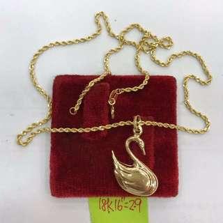 18k saudi gold swan pendant