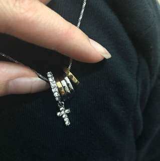 silver&gold rings with cross charm necklace