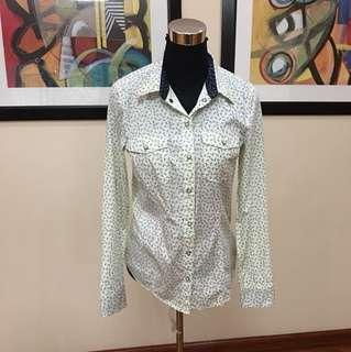 Esprit button blouse (scissors print)