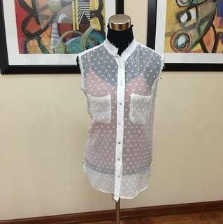Mango sheer sleeveless with polkadot detail