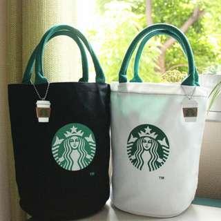 星巴克 Starbucks 新款拉鏈水桶包(黑 白2色)
