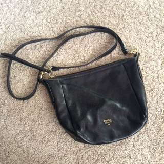 Authentic Fossil Crossbody sling Bag Black Leather