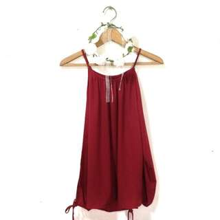Sexy Red Off Shoulder Chiffon Top
