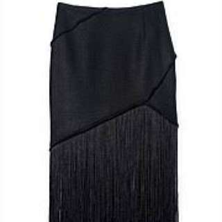 Country road black skirt with long fringing woven panelled  size S - M