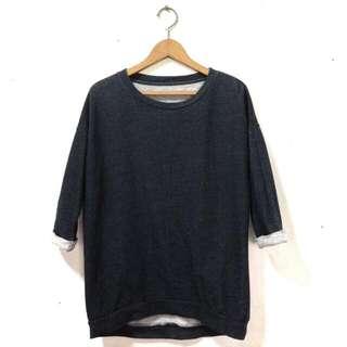 Dark Blue 1/4 Sleeve Sweater