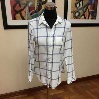 H&M white polo with blue checkered details
