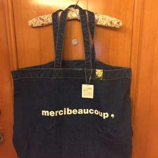 日本潮牌Mercibeaucoup牛仔大tote bag布袋