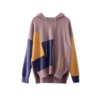 Designer Brand 小眾拼接色套頭連帽衛衣 毛衣 冷衫 針織衫 順豐站自取包郵