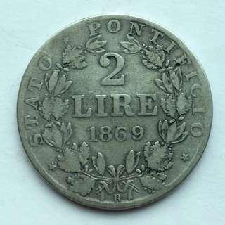 1866年 梵帝崗 教宗PIVS 9世 2 Lire 里拉 銀幣