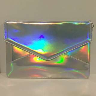 [Dangerfield] Iridescent Holographic Envelope Clutch Pouch