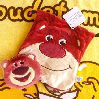 熊抱哥玩具總動員 草莓熊系列 卡通可愛收納束口袋 零錢包伸縮卡包 拍立得袋