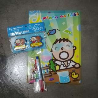 Sanrio Minna No Tabo Folder / Envelope, Clip Magnets, Ballpen and free stickers