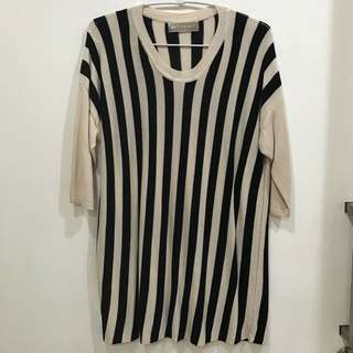 B&W stripes tops atasan sz L