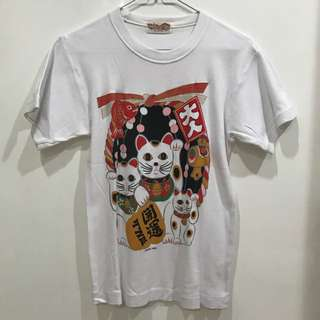 Cat white tshirt kaos sz L