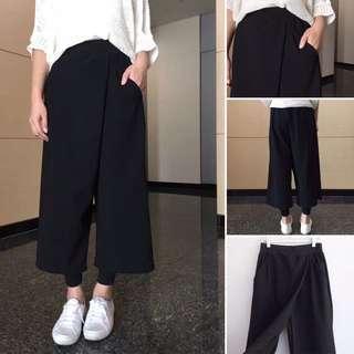 韓國開叉視覺設計款寬褲兩件式褲子