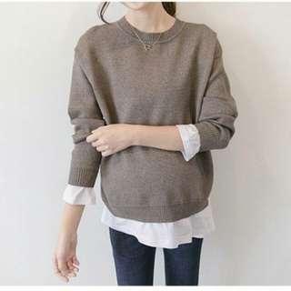 韓保暖厚實柔軟舒適彈力修身假二件長版針織毛衣SY7102801