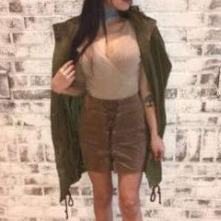 Mendocino M Boutique Velvet Laced Up Mini Skirt in Camel Size S