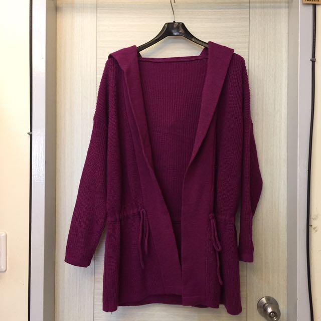 深紫紅20%羊毛粗針織開襟大帽外套