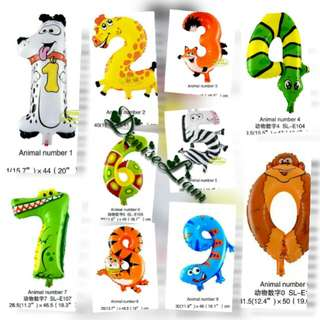 Balloon  - Animal Number Figure (Selection of Numeric Aluminium 0~9) Foil Balloons Birthday Party Decoration
