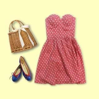 ❤️日系甜美❤️ 粉紅底白點點/平口馬甲式/可愛圓裙洋裝 性感優雅首選著衣