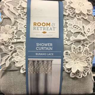 Fabric shower Curtain Burano lace Gray Silver White Layered