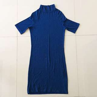 Blue Bodycon Turtle Neck Dress (Repriced)