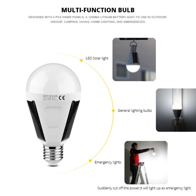 220V Solar Lamp Powered Portable E27 Led Bulb Light 7W Solar Bulb