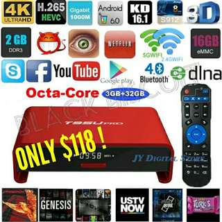 🚚 Lifetime No Subscription: Android TV Box High Performance T95U PRO S912 2/3GB RAM 16/32GB Storage