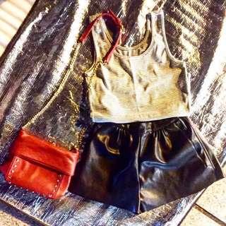 🚚 售整套也可單買 條紋背心 皮褲 Zara小包