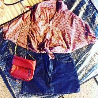 🚚 售整套也可單買 紅色細格紋襯衫 ZARA小包 NET短裙