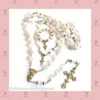 Set rosario batu whitestone asli dyed warna pastel ungu pink kuning