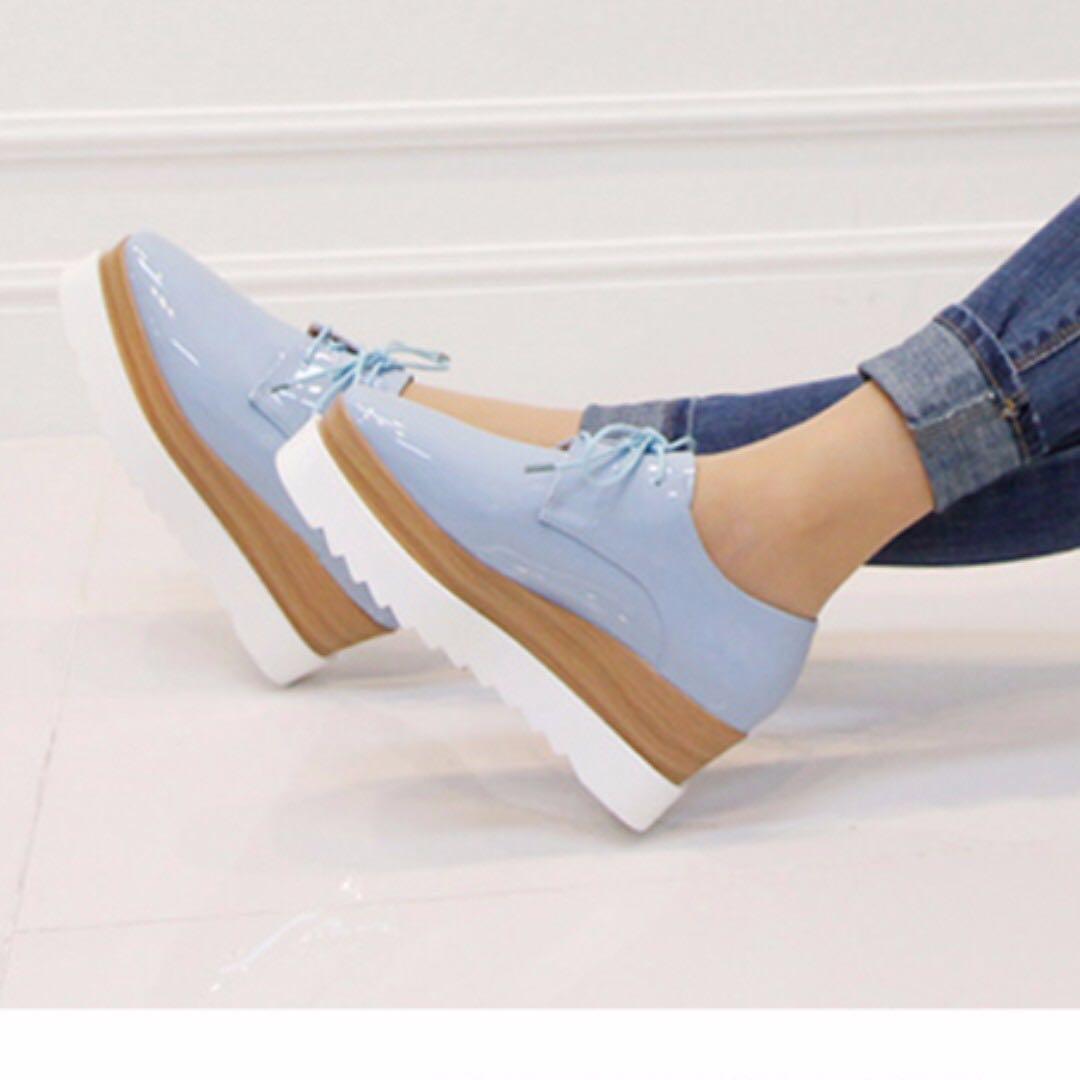 降‼️韓 亮面皮質方頭綁帶雙層拼色厚底牛津鞋