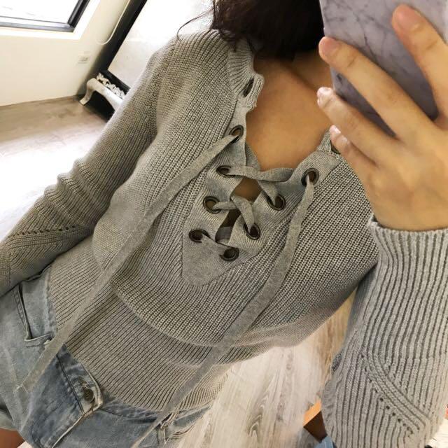 歐美針織收腰 前胸綁帶上衣