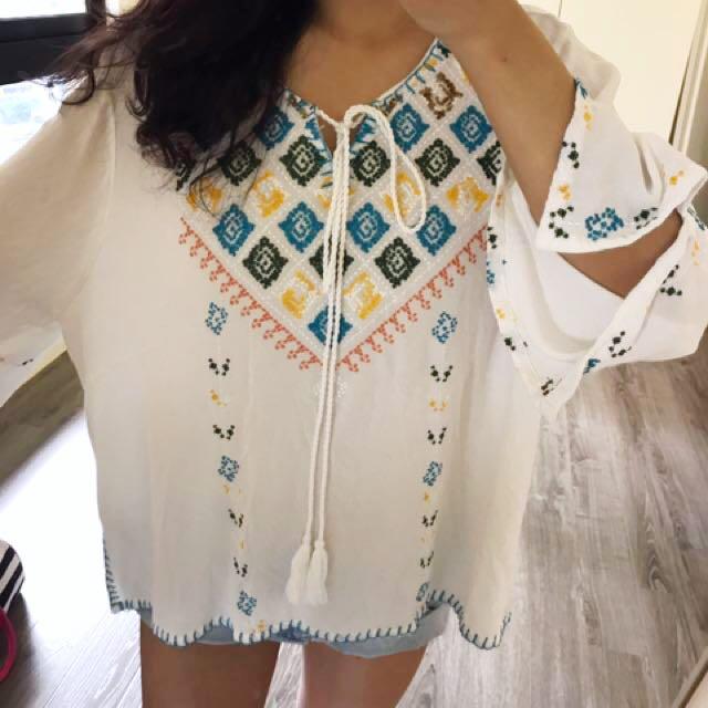歐美刺繡 上衣 洋裝