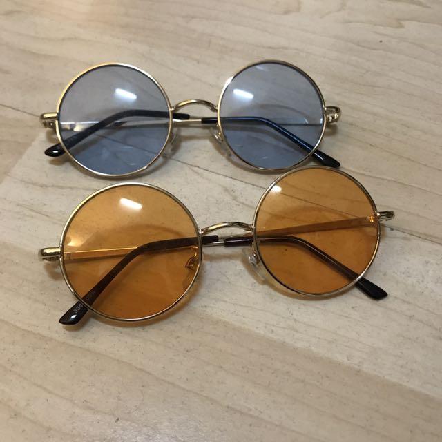 彩色 眼鏡 墨鏡 橘 藍