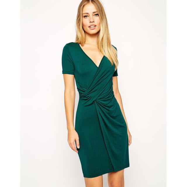 ASOS green bodycon dress with twist front - size 8