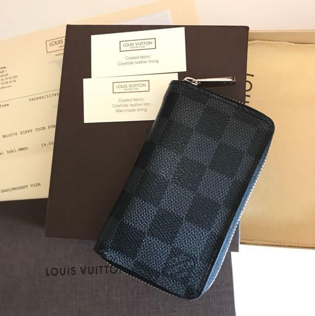 f4329990a445 Authentic Louis Vuitton Damier Graphite Mini Zippy Coin Wallet ...