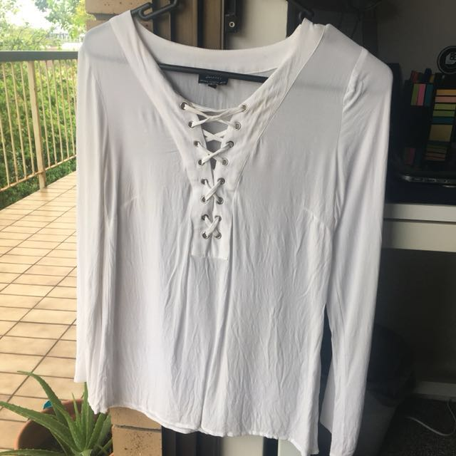 BARDOT White Sleeved Top