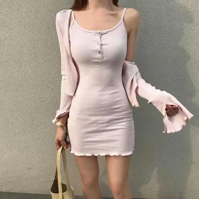 [Beststyler] cardigan + dress!!!! Women korean style slim and thin camisole dress with cardigan/student casual sexy singlet dreds