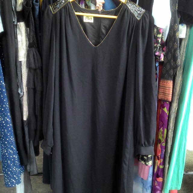 Black Chiffon Loose Dress