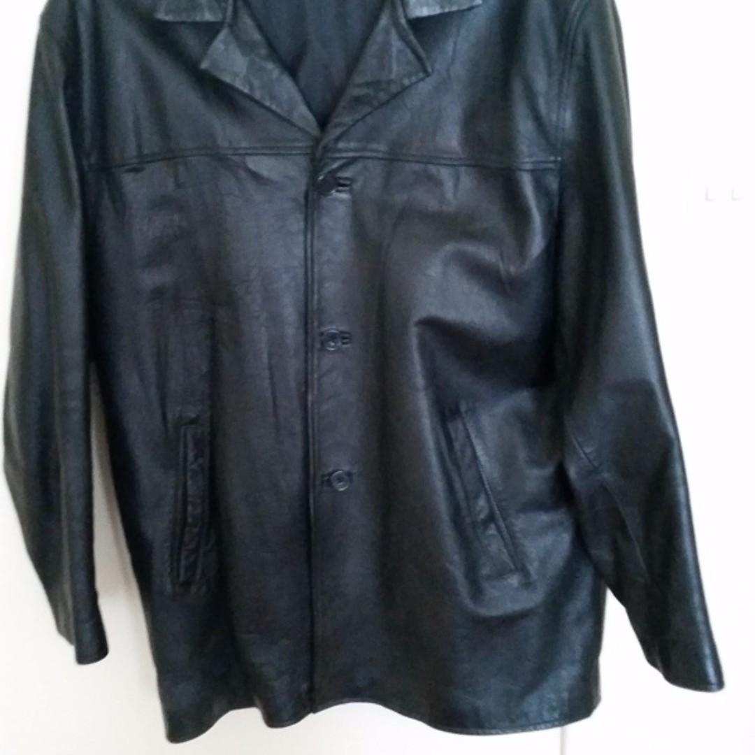 Black Real Leather Jacket sz.XL