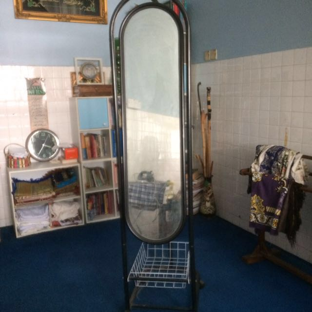 Black Standing Mirror with cloth hanger