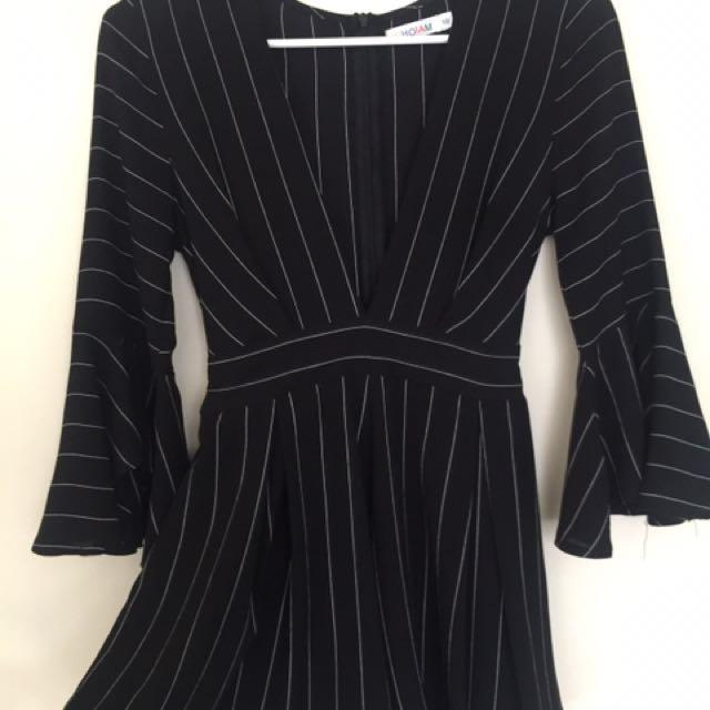 Black striped v cut playsuit