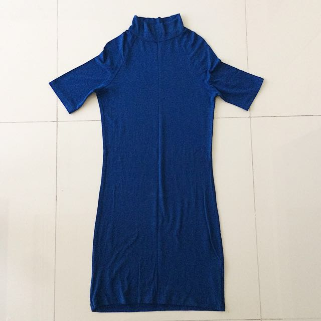 Blue Bodycon Turtle Neck Dress (Repriced)