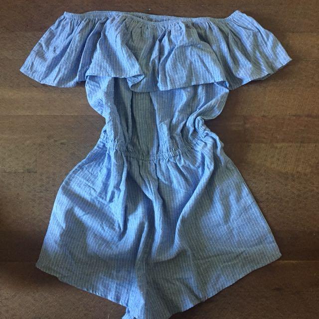 Blue denim off the shoulder Size 10 tempt playsuit